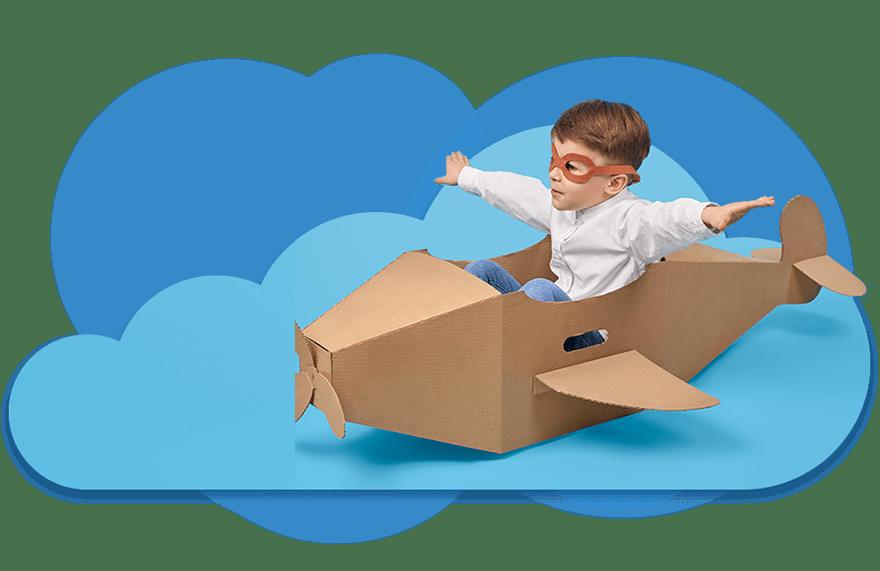 Dziecko wpapierowym samolocie